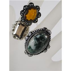 3 GERMAN SILVER RINGS: AGATE SIZE 8, CITRINE SIZE 6 & BROWN SIZE 8