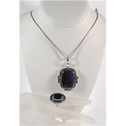 GERMAN SILVER BLUE SUN STONE PENDANT NECKLACE & RING (SIZE 6)