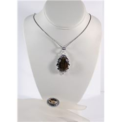 GERMAN SILVER STONE PENDANT NECKLACE & SMOKY QUARTZ RING (SIZE 9)  SEE PICTURES