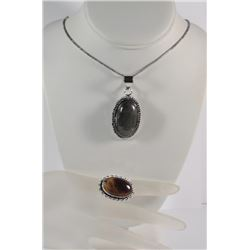 GERMAN SILVER LABRADORITE PENDANT NECKLACE & TIGER'S EYE RING (SIZE 8)