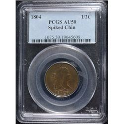 1804 SPIKED CHIN 1/2 CENT, PCGS AU-50