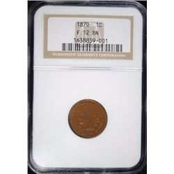 1870 INDIAN HEAD CENT, NGC F-12 BN