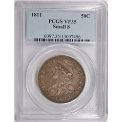 1811 CAPPED BUST HALF DOLLAR, PCGS VF-35