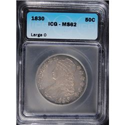 "1830 LARGE"" O"" BUST HALF DOLLAR ICG MS-62"