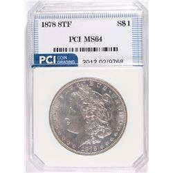 1878 8TF MORGAN SILVER DOLLAR, PCI GEM BU BLAST WHITE!