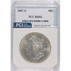 1887-S MORGAN SILVER DOLLAR, PCI GEM BU