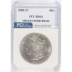 1890-CC MORGAN SILVER DOLLAR, PCI  GEM BU  WHITE!