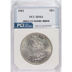 1891 MORGAN SILVER DOLLAR, PCI GEM BU  BLAST WHITE