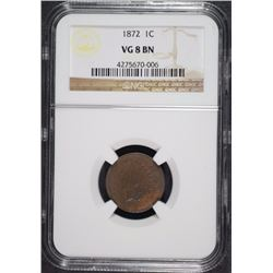1872 INDIAN HEAD CENT, NGC VG-8 BN