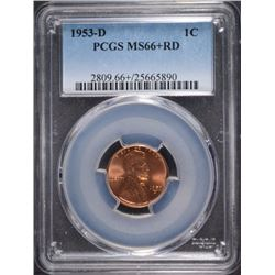 1953-D LINCOLN CENT PCGS MS66+ RD