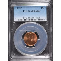 1957 LINCOLN CENT, PCGS MS-66 RED