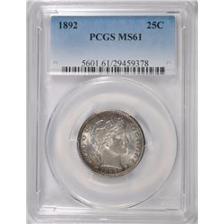 1892 BARBER QUARTER, PCGS MS-61 UNDERGRADED!