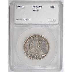 1854-O SEATED LIBERTY HALF DOLLAR (ARROWS), SEGS AU