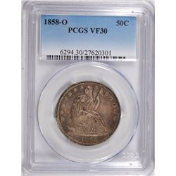 1858-O SEATED HALF DOLLAR, PCGS VF-30
