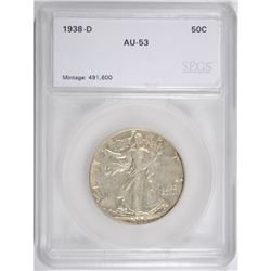 1938-D WALKING LIBERTY HALF DOLLAR, SEGS AU