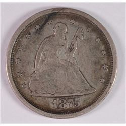 1875-S 20-CENT PIECE, VF NICE!