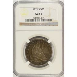 1871-S SEATED HALF DOLLAR, NGC AU-55