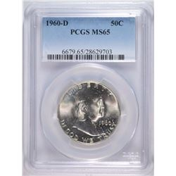 1960-D FRANKLIN HALF DOLLAR, PCGS MS-65  BETTER DATE
