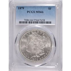 1879 MORGAN SILVER DOLLAR, PCGS MS-66 SUPERB WHITE
