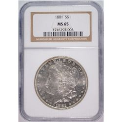 1881 MORGAN SILVER DOLLAR, NGC MS-65