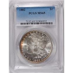 1882 MORGAN DOLLAR PCGS MS-65 SOME RAINBOW COLORS ON RIM