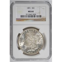 1891 MORGAN SILVER DOLLAR NGC MS64