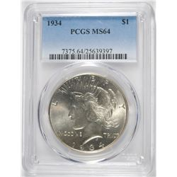 1934 PEACE DOLLAR PCGS MS64 BLAST WHITE