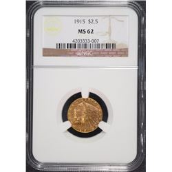 1915 $2.50 GOLD INDIAN NGC MS-62