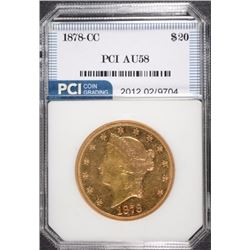 1878-CC $20.00 GOLD LIBERTY, PCI AU/BU  RARE!!!
