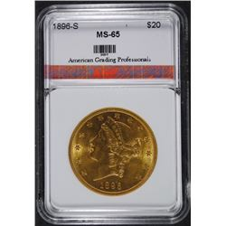 1896-S $20.00 GOLD LIBERTY AGP GEM UNC