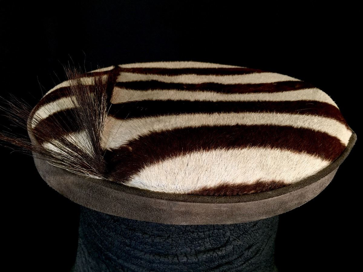 Elephant Foot Stool With Zebra Skin Top 21 Tall Not