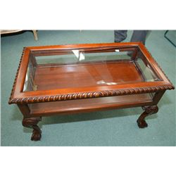 Ball and claw Chippendale style coffee table vitrine with bevelled panels
