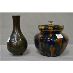 "Antique glazed pottery humidor 5 1/2"" and a quality cloisonn' bud vase 6 1/2"""