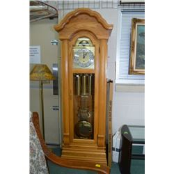 Oak cased long cased clock with triple train Hentschel movement and phases of the moon