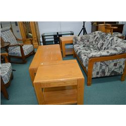 Three piece semi-contemporary oak coffee and end table set