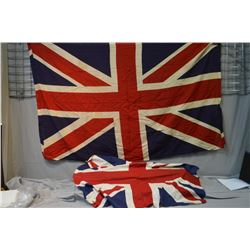 Two printed Union Jacks and a Queen's Jubilee flag