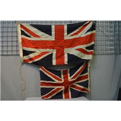 "Two Union Jack flags including printed 22"" X 34"" and a sewn flag 25"" X 51"""