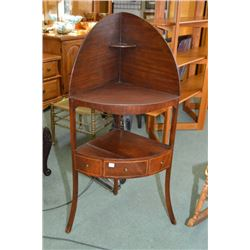 Antique multi tier corner unit base and top are likely a marriage