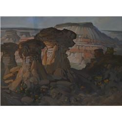 "Framed acrylic on canvas painting of Drumheller by artist Meredith Evans, 13 1/2"" X 24"""