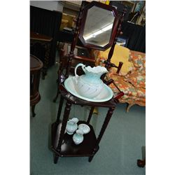 Victorian style twist support washstand and five piece semi-porcelain wash bowl and jug set