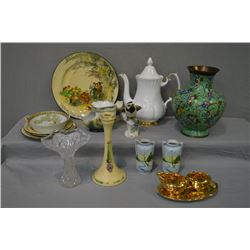 Selection of vintage collectibles including Royal Dux bird figure, Royal Winton cream, sugar and dri