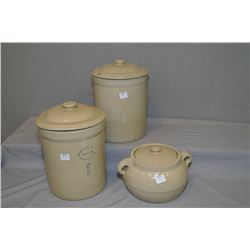 Two lidded one gallon crocks including one Medalta and an unmarked lidded stoneware bean pot