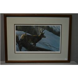 "Framed limited edition print ""Mule Deer in Winter"" 447/950 pencil signed by artist Robert Bateman"