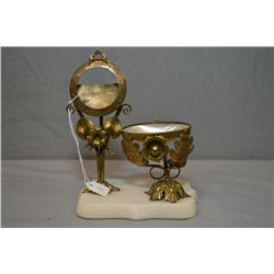 Late 1800 French pocket watch holder with stone plinth with mother of pearl watch chain watch chain