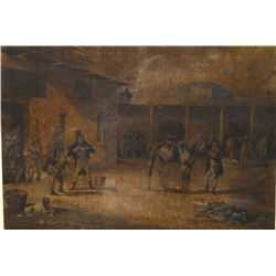 Two large framed Victorian coloured prints featuring an Inn scene and stables