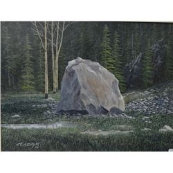 "Framed acrylic on board painting of a large rock in a wooded setting by artist J.O. McIntyre, 15"" X1"