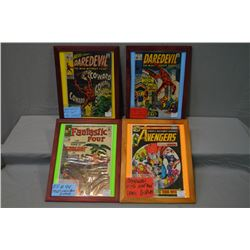 Four framed vintage comic books including 1960's Daredevil No 55 and 73, Avengers No. 146 and Fantas