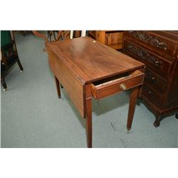 Antique drop leaf table with original brass castors and single drawer on one end