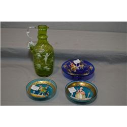"Antique Mary Gregory 8"" high green glass cruet, vintage cobalt hand enamelled dish and a pair of han"
