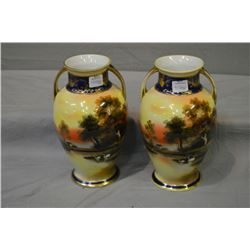 "Pair of 9"" high hand painted double handled Noritake vases"